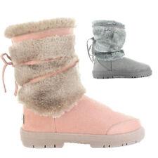 Womens Ella Shoes Katrina Boots Winter Mid Calf Faux Suede Fur Grey Mink Warm