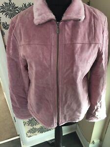 BNWOT Ladies Ben Sherman Real Genuine Pink Suede Leather Jacket Coat Faux Fur 16