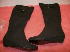 Beston Women's Fashion Side Zipper Mid-Calf Wedge Boots Black Size 6 1/2, New!