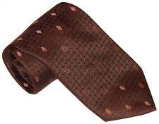 $275 NEW BRIONI COPPER BROWN SATIN TEXTURED WEAVE w ORANGE & WHITE DIAMONDS TIE