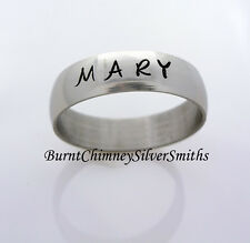 Hand Stamped Economy S/Steel Name Ring For Men or Women 6mm