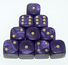 10 of Purple Pearl Dice - Six Sided Spot Dice, size 16mm - D6 Rpg Wargaming