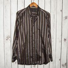 JHANE BARNES Men's Button Front Shirt Multi color Striped Silk Cotton Sz M