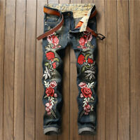 Men's Autumn Retro Straight Slim Jeans Embroidered Rose Punk Hip Hop Dance Pants