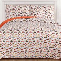 Sweet Home Collection Contruction Kids Reversible Quilt & Sham Set
