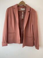 MISS SELFRIDGE Salmon Pink Relaxed Soft Blazer Jacket Size 12 RRP £30
