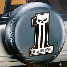 Harley Davidson Dark Custom Number 1  Logo Spare Tire Cover Truck Jeep SUV 4x4