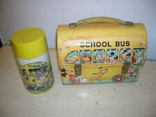 "VINTAGE Disney - ""School Bus"" Blech Lunch Box & Kanne - 70er/80er Jahre"