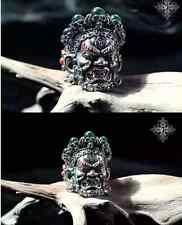 925 Silver MAHAKALA TIBETAN BUDDHIST Skull Mask Handwork HANNY blue Amber Ring