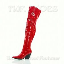CR East Side Kelsey Thigh Boots 3.5 Western Heels 6 -11 Stretch Patent Black Red