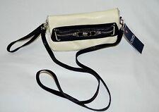 CHAPS ALEXA WRISTLET Detachable Cross Body Strap Purse White Black $39