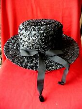 New listing Vintage Hat Betmar New York Black Woven Natural Straw Ribbon Bow Side