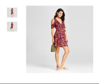 NEW Xhilaration Women's Bell Sleeve Shift Dress Berry Junior Floral Size XSmall