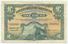 GIBRALTAR 1 Pound 1938 P15a VF
