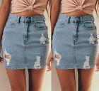 Women Denim High Waisted Bodycon Pencil Ripped Frayed Mini Skirt Jeans Skirt