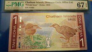 2013 Chatham Islands, Overseas Exch. 1 Koha - Private Issue  67 Superb Gem Unc.