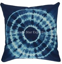 "Indian Shibori Cushion Case Cotton 16"" Square Indigo Pillow Cover With 2 Pcs Set"
