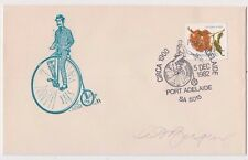 Stamp Australia penny farthing cycle celebrations Bergen souvenir cover signed