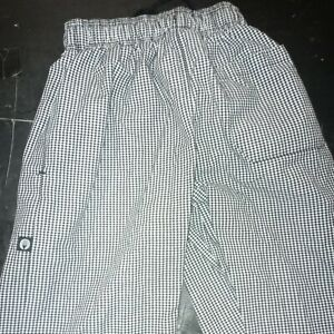Chef Works LARGE LG Elastic Waist Baggy Restaurant chefs cooks checkered pants