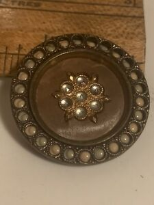 Antique Vtg BUTTON Perforated Celluloid in Brass faux seed pearls&jewels