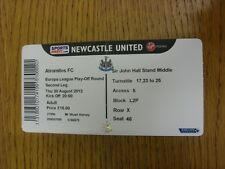 30/08/2012 Ticket: Newcastle United v Atromitos [Europa League] (Folded). Thanks