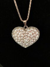 Betsey Johnson Necklace Heart Silver / Gold Chain Crystal WORLD LOVE GIFT BOX