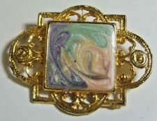 Victorian style vintage abstract enamel art painting artisan gift brooch 45295