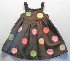 """Gymboree """"Tea for Two"""" Large Dots & Flowers Ruffled Brown Sun Dress, 2T"""