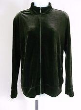 Chicos Size 1 (8) Dark Brown Full Zip Rhinestone Velour Long Sleeve Jacket