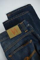 NUDIE GRIM TIM LIGHT RICH BLUE Men's W36/L34 Faded Slim Straight Jeans 3532_mm