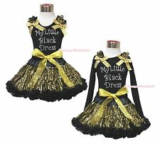 Easter Rhinestoen My Little Black Dress Top Sparkle Bling Gold Sequin Skirt 1-8Y