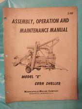 Minneapolis Moline model E Corn Sheller Operators Manual S-148 Vintage Original