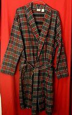 LL Bean Men's L Grey Stewart Scotch Plaid Cotton Flannel Robe Belt 3 Pockets