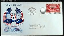 "US SC 786 FDC WITH CACHET ""ARMY HEROES"" 15 JAN 1937 2¢ W. SCOTT & A. JACKSON VF"