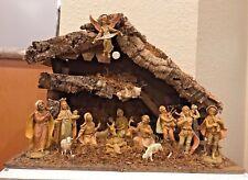 Vtg Italy 14 Figurine Piece Nativity w/ Music box Stable Loft Plays Silent Night