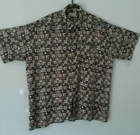 St Johns Bay shirt size XL brown multicolor button up short sleeve