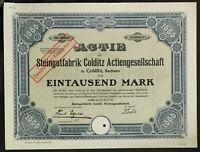 GERMANY 946/B&M -Steingutfabrik Colditz Aktiengesellschaft 1000 Mk. 1923 Colditz
