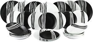 Waterside 24 Piece Milan Black & White Dinner Set