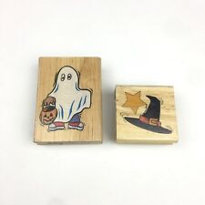 Set 2 Halloween Ghost Costume Witch Hat Canadian Maple Collection Rubber Stamp