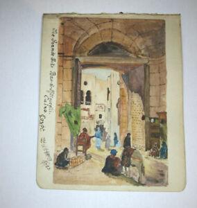 "The GRAND GATE CAIRO Egypt-1923 Orientalist Watercolour by W.H. Hamer-4.5x5.5"""