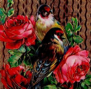 Happy Birthday Post Card Germany Series 36 Embossed Gold 2 Birds 3 Roses Vintage
