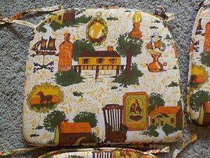 4 Vtg Floral Chair Cushions Pads Bottom Retro Green Yellow Brown Orange 1970's