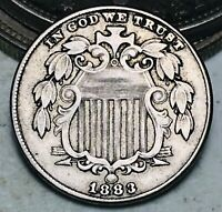 1883 Shield Nickel 5 Cents 5C High Grade Choice Full Motto Good US Coin CC6653