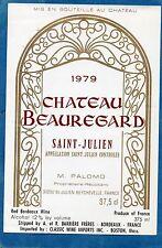 ST JULIEN ETIQUETTE CHATEAU BEAUREGARD 1979 37.5 CL SPEC EXPORT USA §06/02/18§
