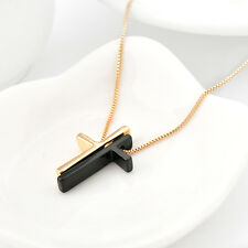 Unique Design 18K Gold GF Solid SWAROVSKI Crystal Cross Pendant Necklace