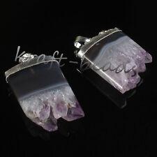 Silver Natural Amethyst Cluster Druzy Crystal Random Chakra Pendant Jewelry