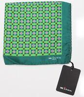 New! Kiton $220 Green Floral Geometric Print Silk Handrolled Pocketsquare