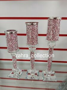 Crushed Crystal Diamond Pink Bling 3pc Candle Holders Home NEW Sparkle Design