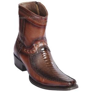 "Men's Los Altos Genuine Ostrich Leg Ankle Boot Square Toe Stitched Vamp 6"" Shaft"