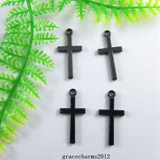 38pcs/lot Gun Black Alloy Blessing Cross Pendant Charms Findings 51226
